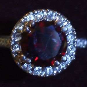 Large Garnet halo ring